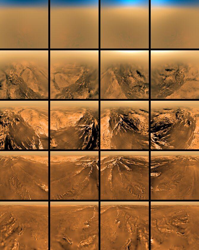 Widok powierzchni Tytana z różnych wysokości, obraz z sondy Cassini-Huygens