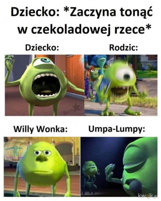 """Mem zainspirowany filmem """"Willy Wonka i fabryka czekolady"""""""