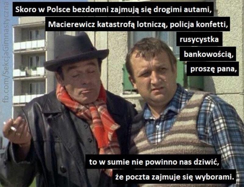 Mem komentujący plany dotyczące wyborów korespondencyjnych