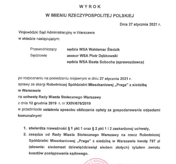 Wyrok WSA ws. uchwał śmieciowych