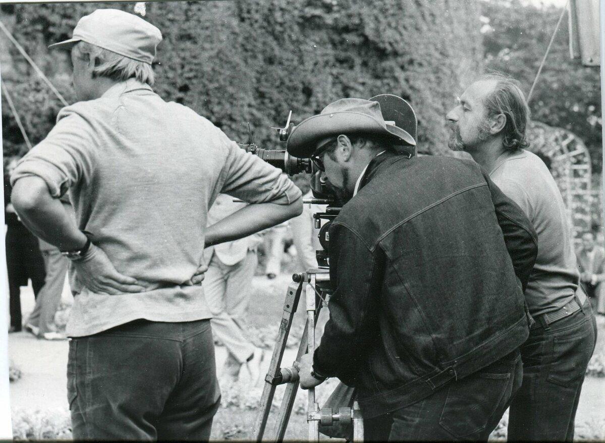 Jerzy Hoffman za kamerą na Tarasie Zachodnim Zamku Książ w Wałbrzychu