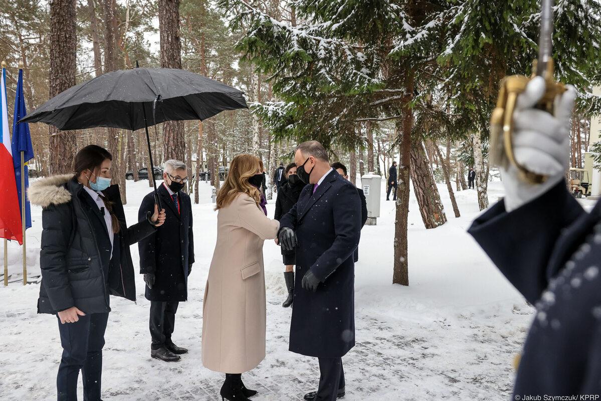 Ceremonia oficjalnego powitania prezydentów państw Grupy Wyszehradzkiej przez prezydenta Andrzeja Dudę