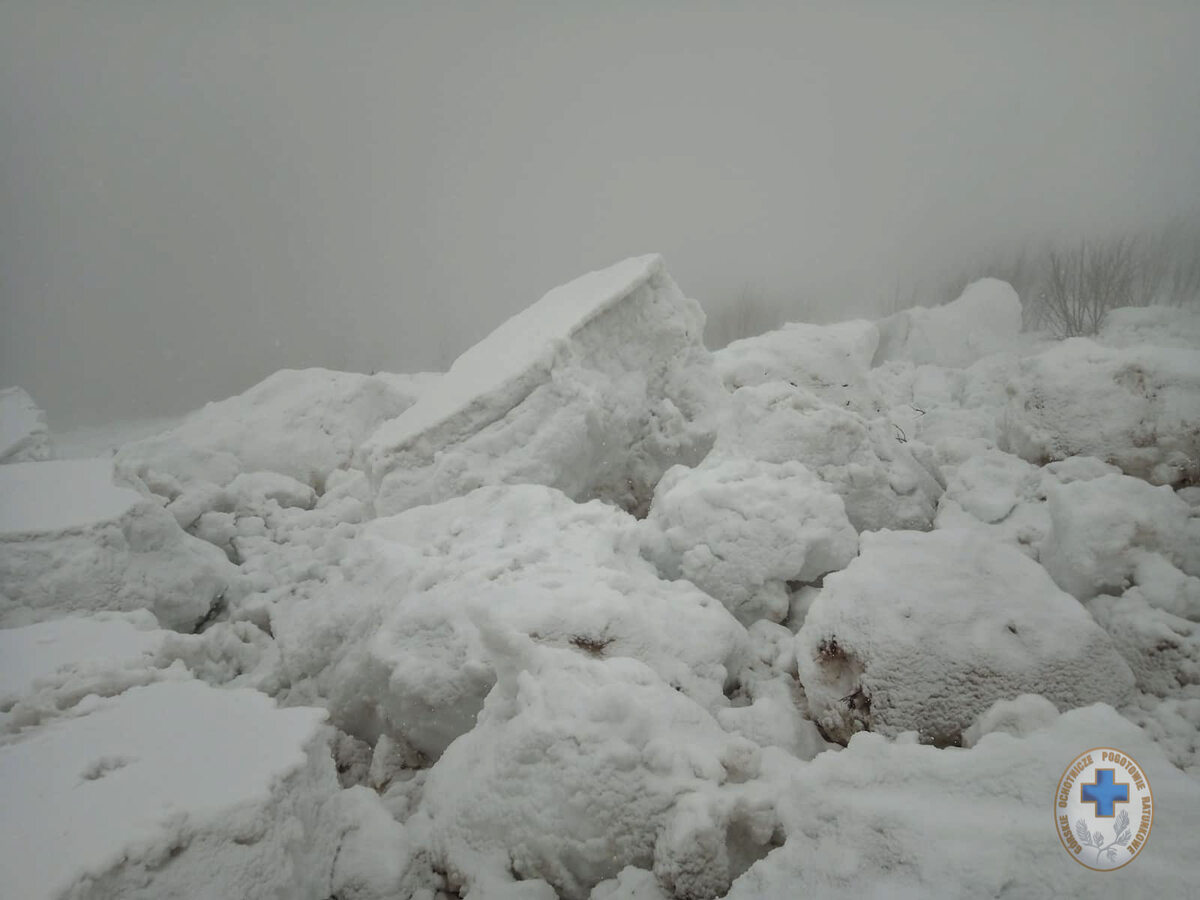 Fotografia wykonania po zejściu lawiny gruntowej