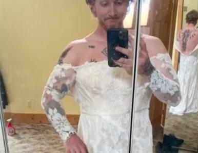 Chciał sprzedać suknię swojej byłej. Sam wystąpił w roli modela