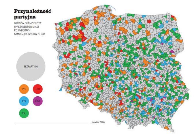 Przynależność partyjna wójtów, burzmistów iprezydentów miast powyborach w2014 roku