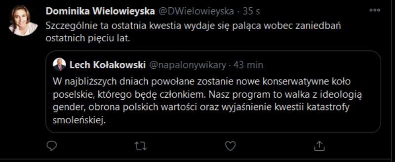 Komentarz dziennikarki Dominiki Wielowieyskiej do fałszywego wpisu Lecha Kołakowskiego