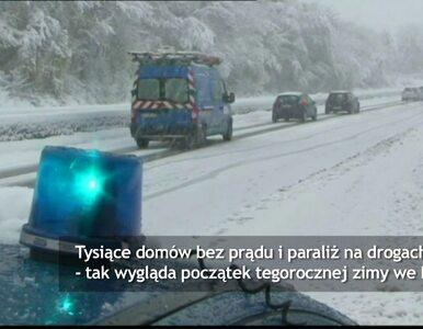 Śnieg we Francji. Paraliż na drogach, tysiące domów bez prądu