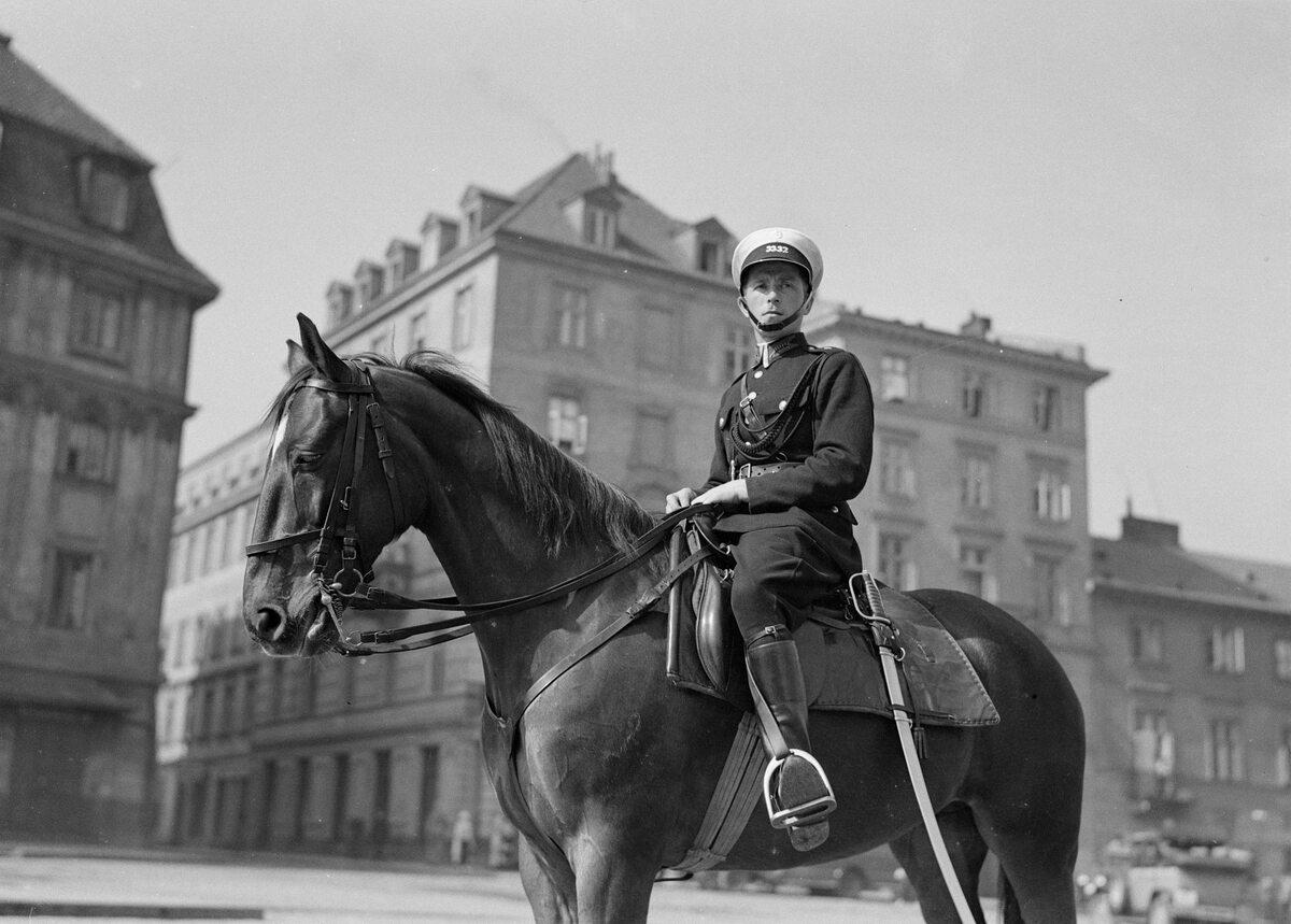 Funkcjonariusz policji konnej w mundurze letnim na placu Zamkowym w Warszawie (1934 r.)
