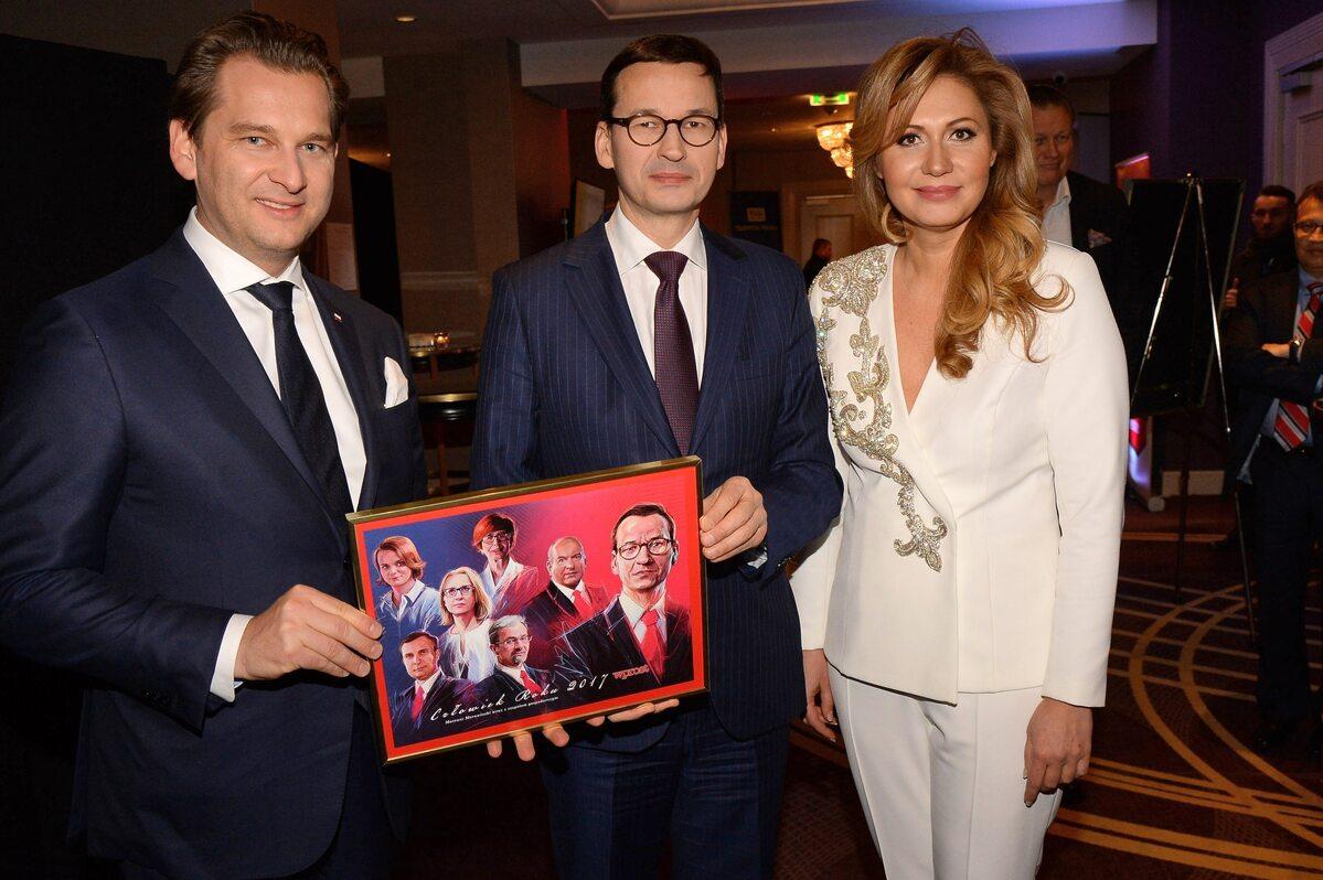 Michał M. Lisiecki, premier Mateusz Morawiecki i Katarzyna Gintrowska