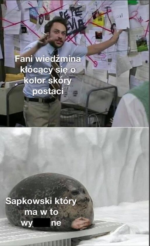 Mem komentujący spór o kolor skóry elfki