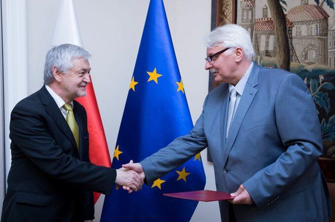 Ambasador Jan Piekło iMinister Spraw Zagranicznych Witold Waszczykowski