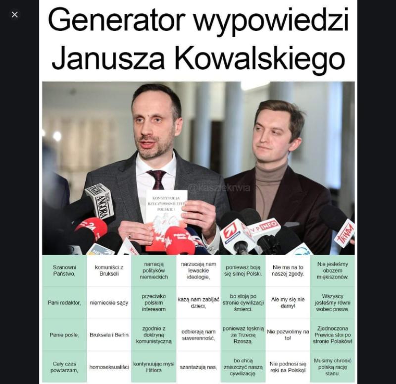 Jest i generator, dzięki któremu samodzielnie można stworzyć wypowiedź Janusza Kowalskiego