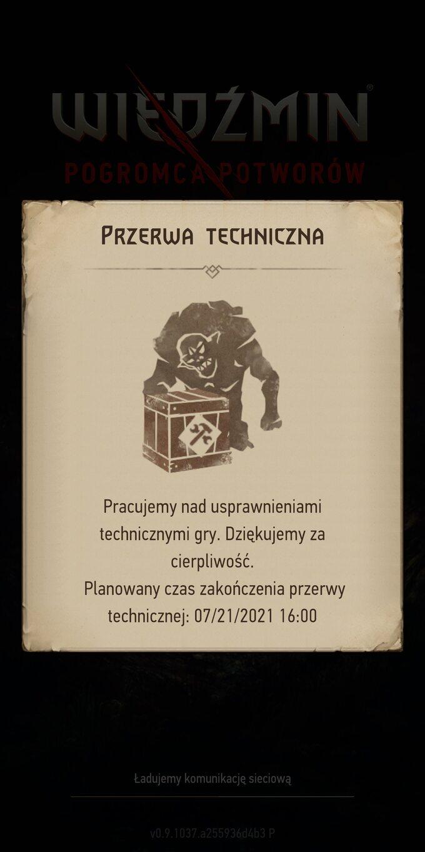 Komunikat oproblemach technicznych zgrą Wiedźmin: Pogromca Potworów
