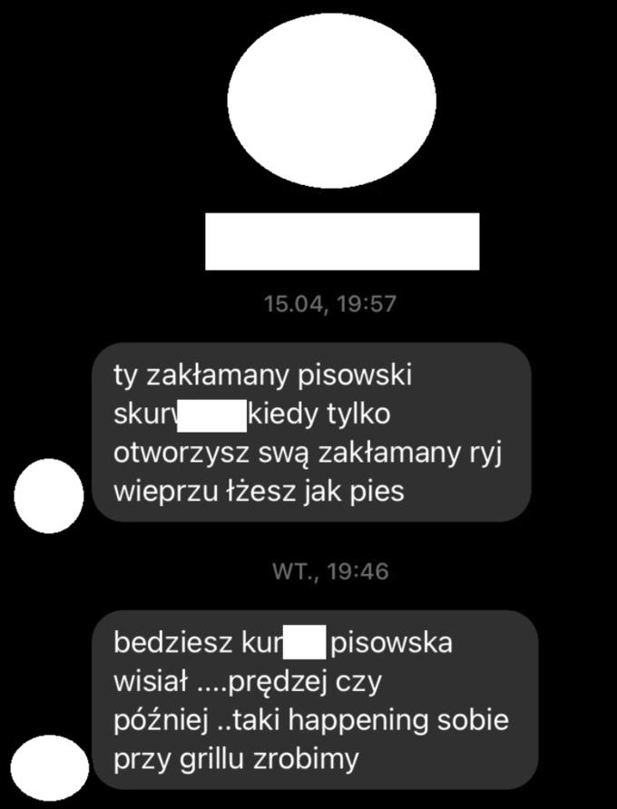 Paweł Jabłoński pokazał wiadomośc odhejtera