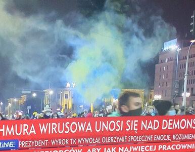 Strajk Kobiet w Warszawie. Tak wyglądały paski w TVP Info