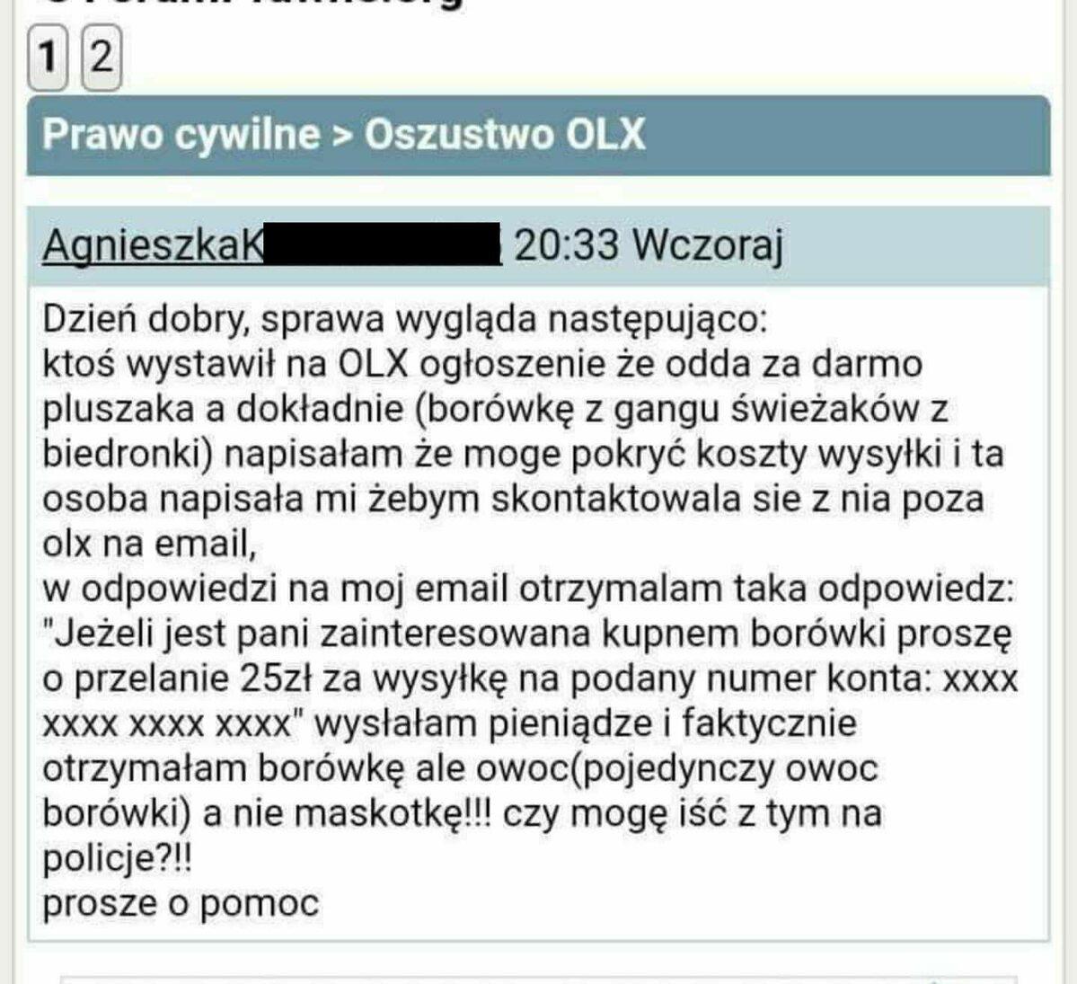 Problem zgłaszany przez oszukaną użytkowniczkę portalu internetowego OLX