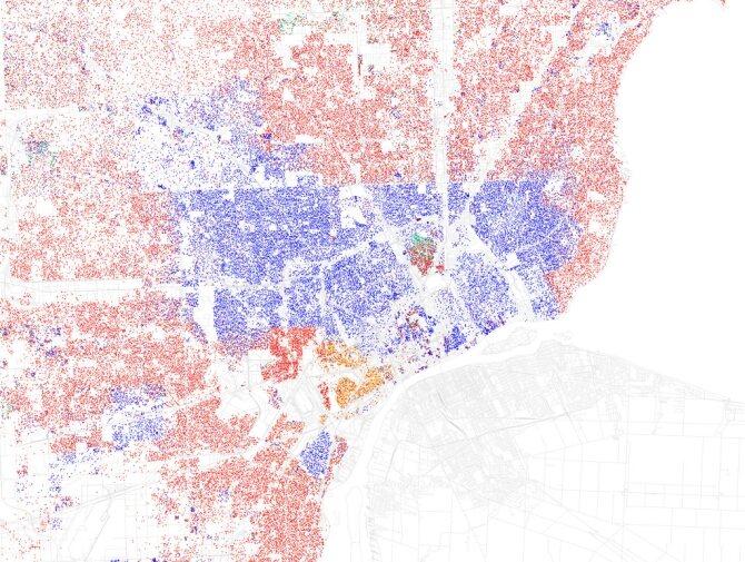 Detroit, czyli krzyżówka Łodzi z Bytomiem. W latach '60 biała klasa średnia wyniosła się na przedmieścia, zaś czarna biedota pozostała w mieście. Czerwona wyspa pomiędzy niebieskim to Hamtramck – dawna polska enklawa