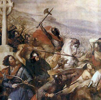25 października 732. Bitwa pod Poitiers lub Bitwa pod Tours. Stoczona między   armią arabską pod wodzą Abd ar-Rahmana, a wojskami frankijskimi majordoma   królestwa Karola Młota i księcia Akwitanii Odona. (fot. domena publiczna)