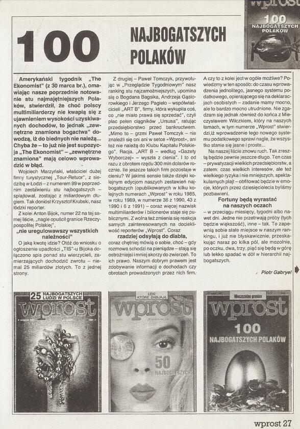 100 Najbogatszych Polaków - Ranking Wprost 1991 100 Najbogatszych Polaków - artykuł Piotra Gabryela