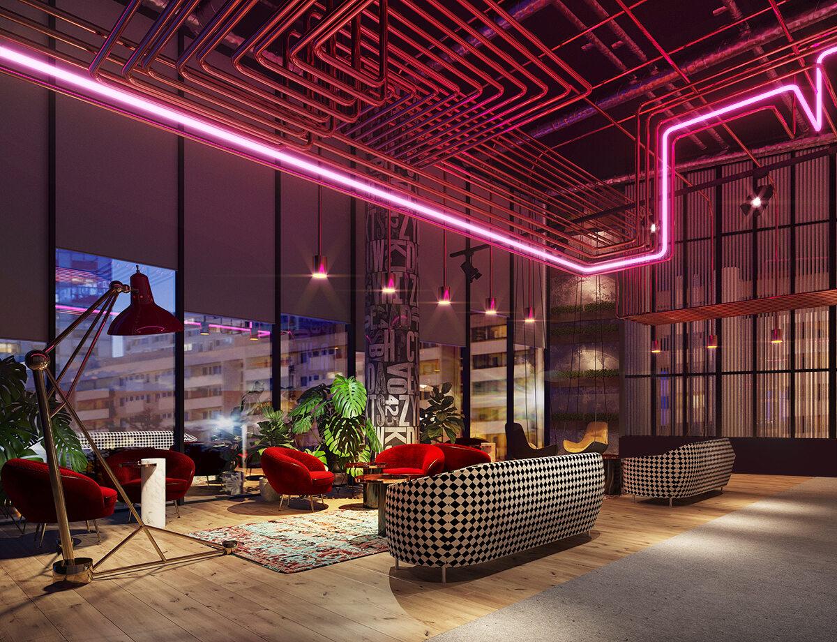 Wnętrza hoteli w The Warsaw HUB