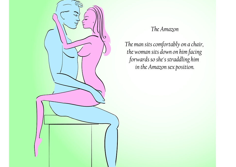 """Pozycja Amazonka To jedna z odmian pozycji """"na jeźdźca"""". Mężczyzna siada na krześle, a kobieta siada okrakiem na mężczyźnie, twarzą do niego i zaczyna się poruszać. W tej pozycji to kobieta ma pełną kontrolę nad aktem seksualnym."""