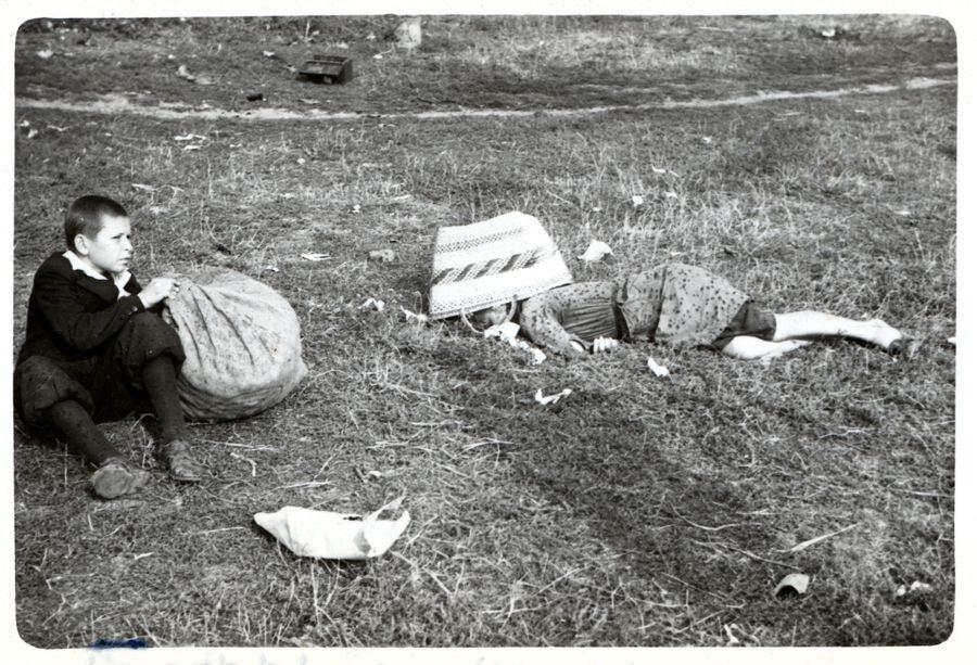 Chłopiec siedzi obok zwłok swojej matki, która zbierała na polu ziemniaki. Zginęła od ostrzału niemieckiego lotnictwa Dziewczynka przeżyła wojnę, fotografowi udało się z nią spotkać po 20 latach. Ulica Ostroroga