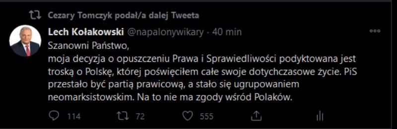Szef Klubu Parlamentarnego KO Cezary Tomczyk udostępnił fałszywy wpis Lecha Kołakowskiego