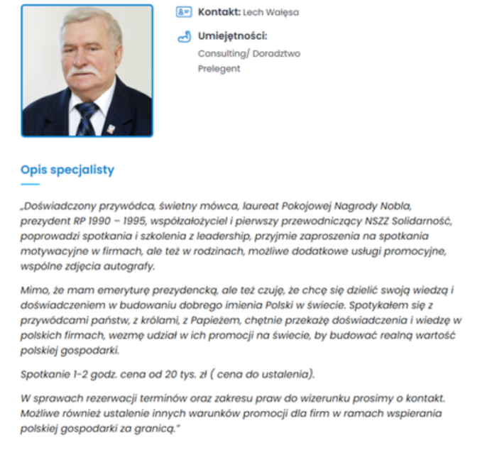 Ogłoszenie Lecha Wałęsy