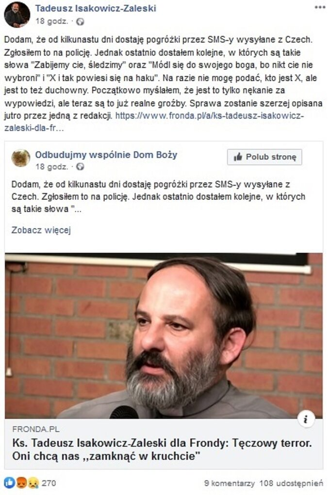Wpis ks. Tadeusza Isakowicza-Zaleskiego