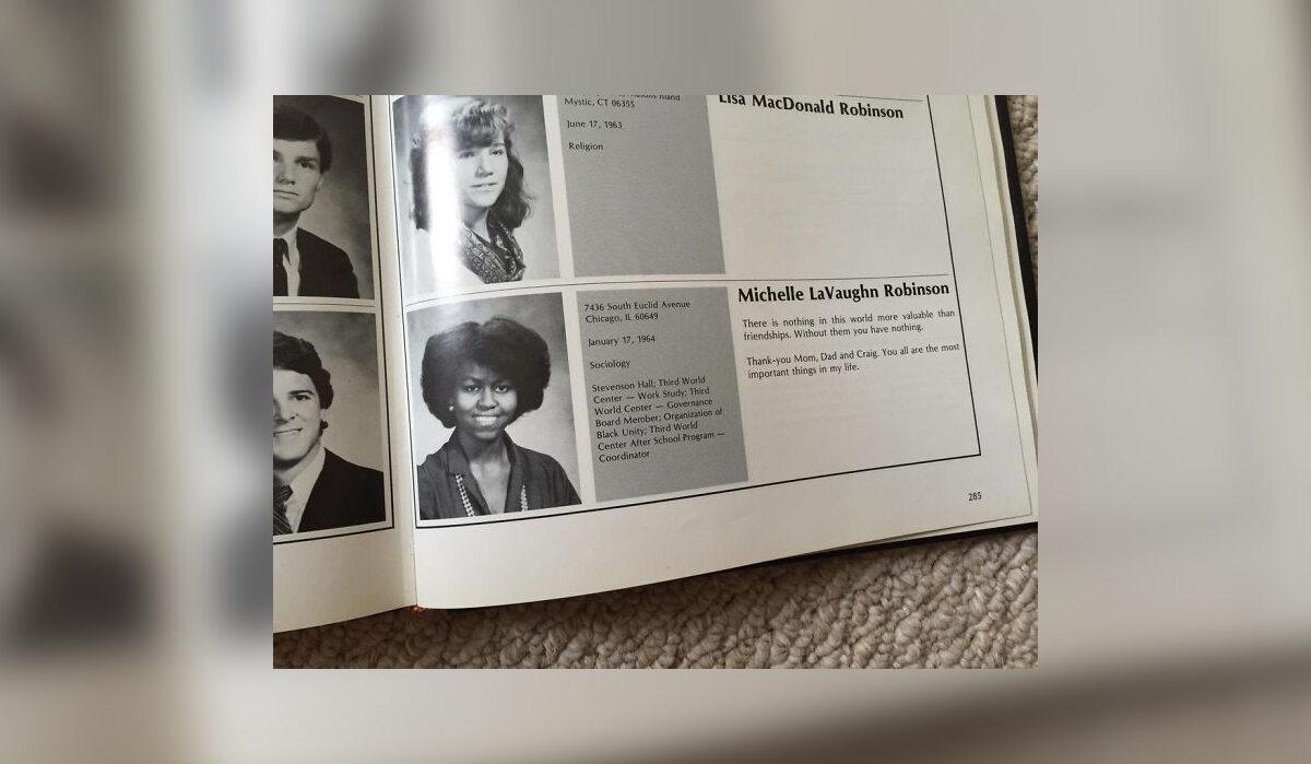 Michelle Obama w szkolnej księdze pamiątkowej