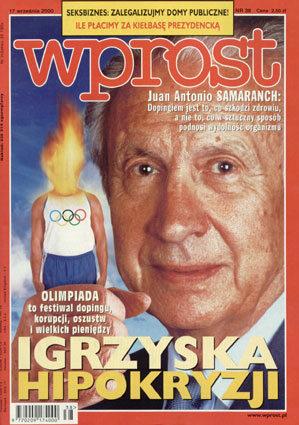 Okładka tygodnika Wprost nr 38/2000 (929)
