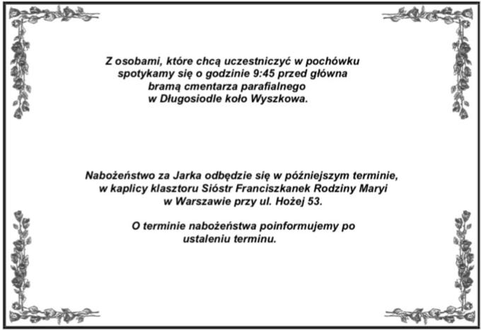 Nekrolog Jarosława Szczepaniaka