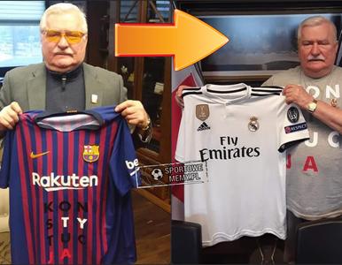Najpierw Barcelona, teraz Real Madryt. Lech Wałęsa pozuje z kolejną...