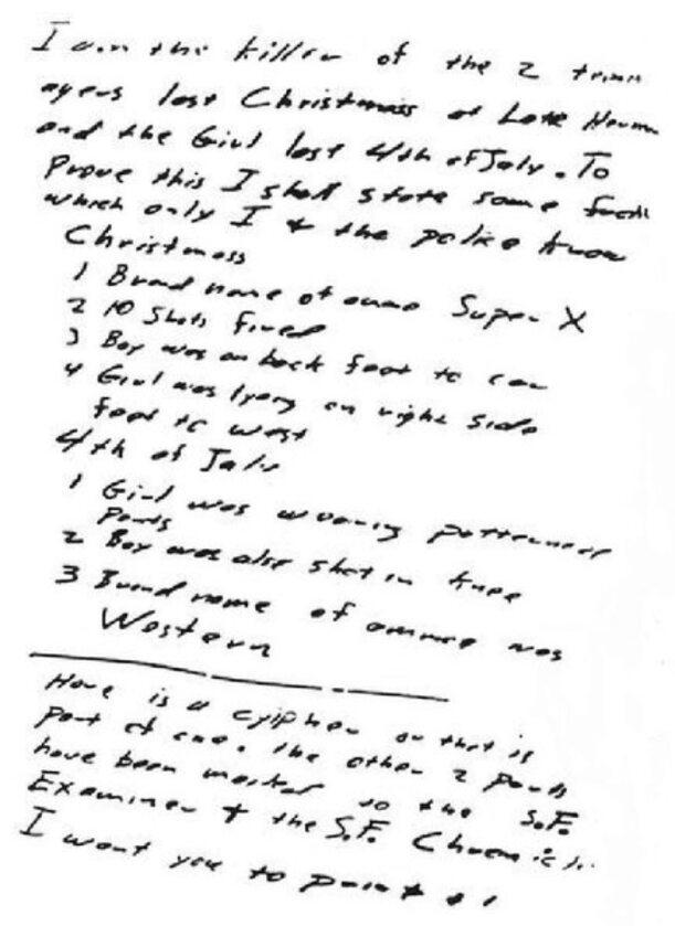 """List, który Zodiak wysłał do """"Vallejo Times-Herald"""" 31 lipca 1969 roku"""