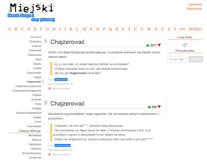 """Definicja słowa """"chajzerować"""" nawww.miejski.pl"""