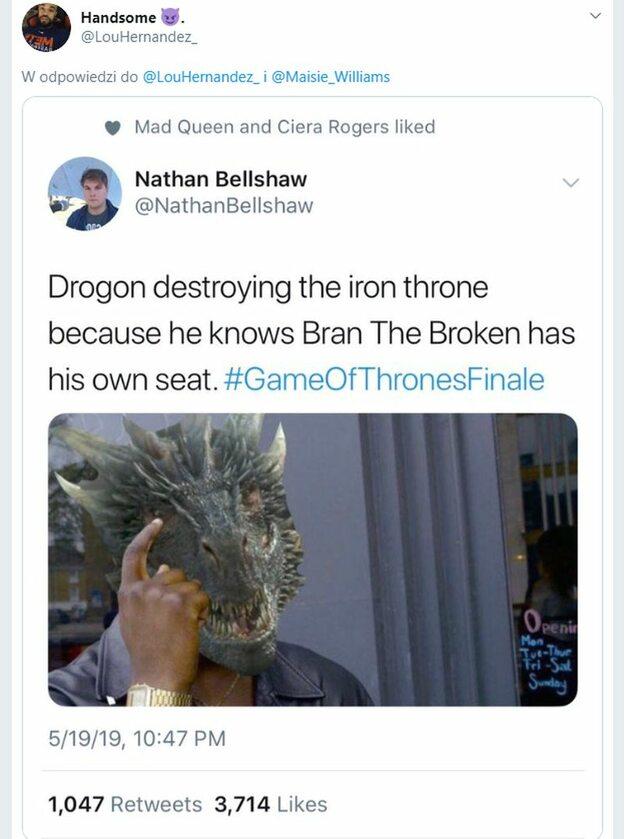 Drogon zniszczył Żelazny Tron, bo wiedział, że Bran ma własne siedzenie