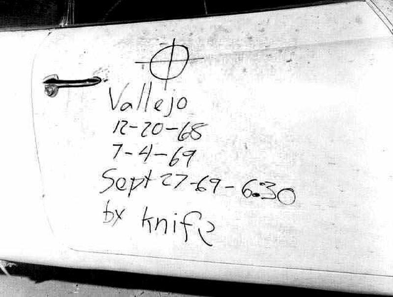 Napis, który Zodiak zostawił na drzwiach samochodu jednej z ofiar, Bryana Hartnella