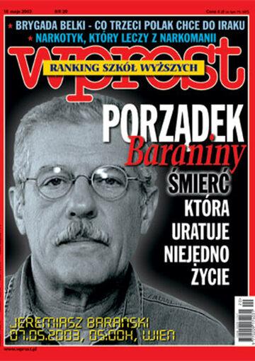 Okładka tygodnika Wprost nr 20/2003 (1068)