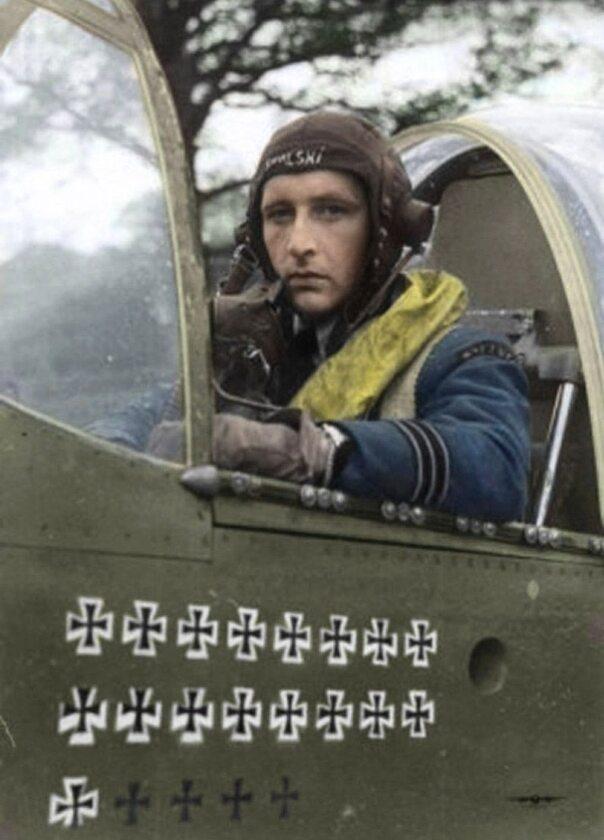 Stanisław Skalski, as myśliwski, który zestrzelił najwięcej wrogich samolotów wśród polskich pilotów Jego bilans to 18 zestrzelonych samolotów niemieckich (w tym dwa zespołowo) oraz dwa kolejne zestrzelone prawdopodobnie