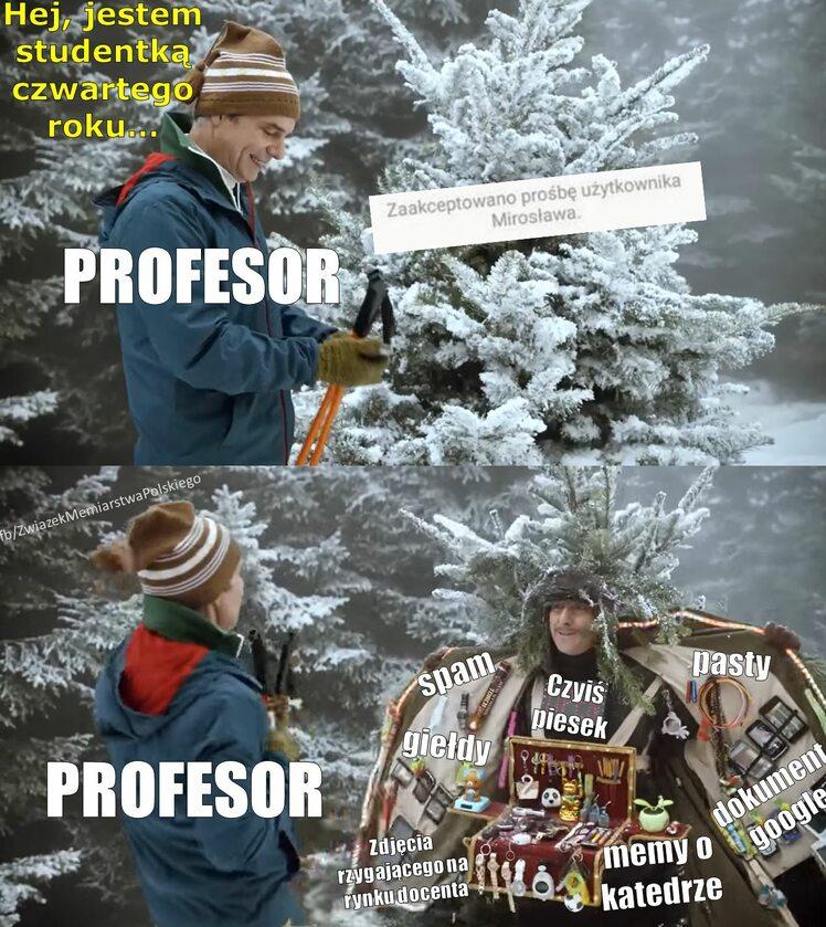 Mem z wykładowców włamujących się na grupki studenckie