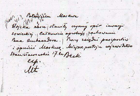 Instrukcja ministra Józefa Becka dla ambasadora Wacława Grzybowskiego, 17 września 1939 r. (Hoover Institution Archives, HI-I-243 kl. 272).