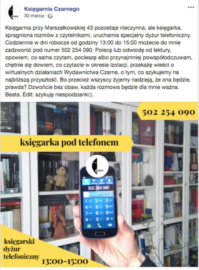"""Księgarnia Czarnego wakcji """"Księgarnia podtelefonem"""""""