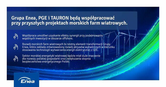PGE, Enea iTAURON planują wspólnie rozwijać morskie farmy wiatrowe