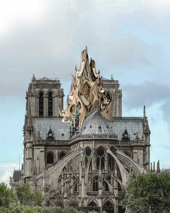 Sztuczny płomień na dachu katedry Notre-Dame