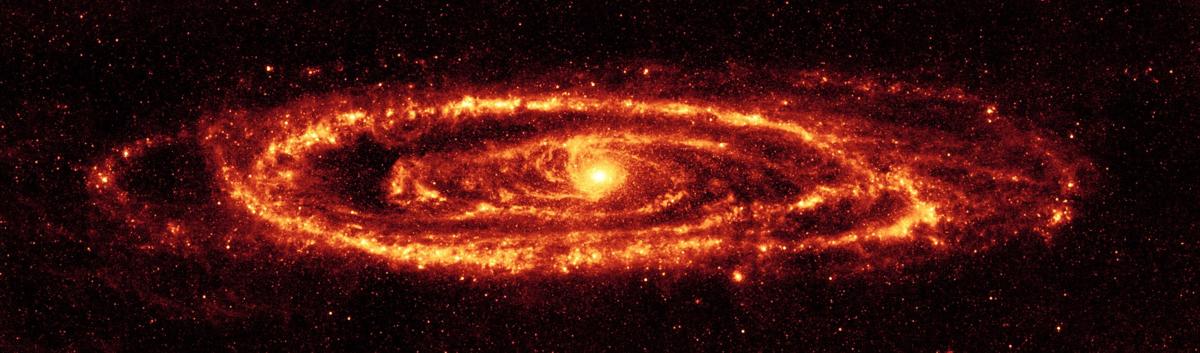 Galaktyka Andromedy (M31) Zdjęcie zrobione przez Teleskop Spitzera w podczerwieni, 24 mikrometry.