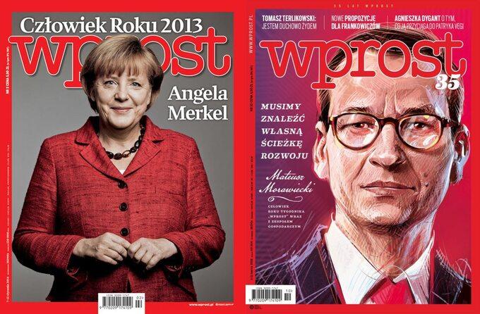 """Angela Merkel iMateusz Morawiecki napoświęconych imokładkach """"Wprost"""""""