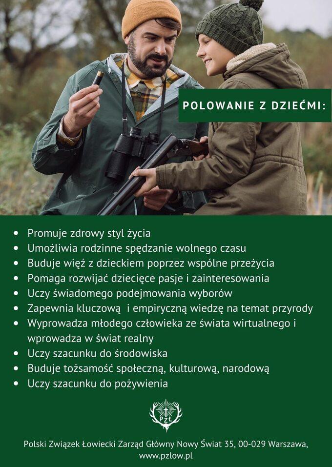 Polowanie zdziećmi. Plakat Polskiego Związku Łowieckiego