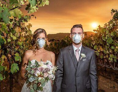 Nowożeńcy musieli uciekać przed pożarem. Ich zdjęcie robi furorę w sieci