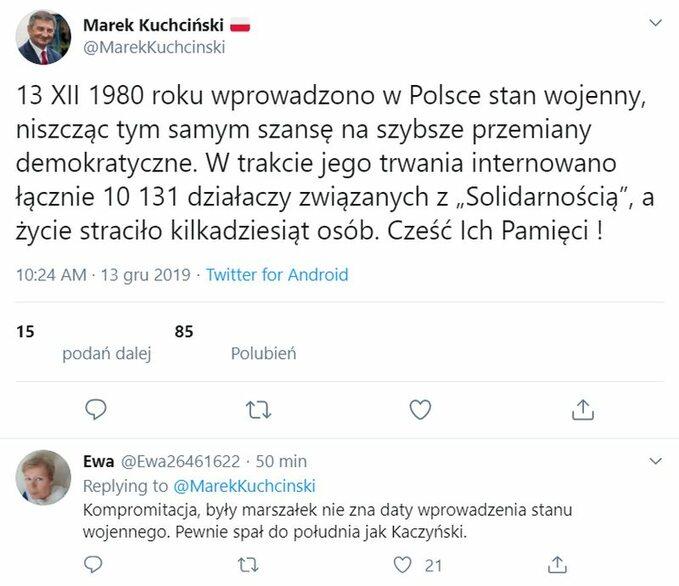 Tweet zbłędem Marka Kuchcińskiego