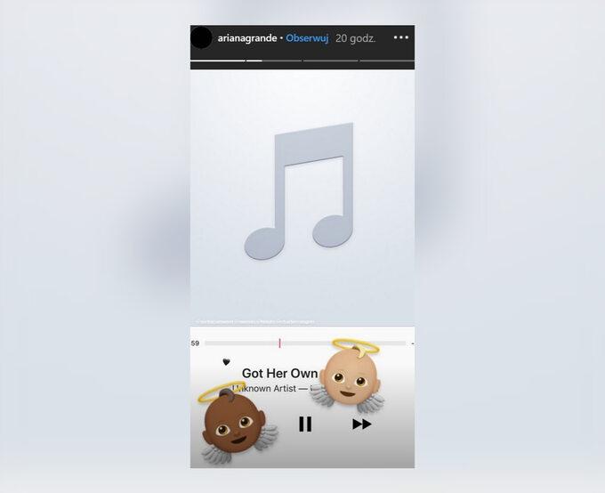 Zrzut ekranu zInstagram Stories Ariany Grande